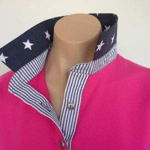Fushia rugby with navy stars and stripe