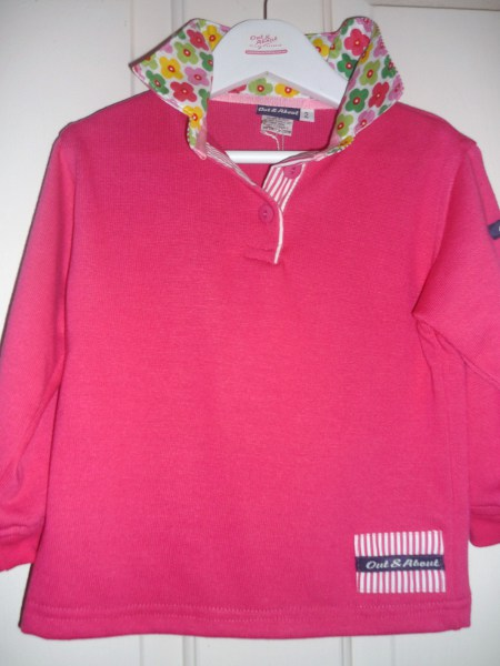 Girls Hot Pink Rugby - Bright daisy & hot pink stripe