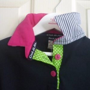 Navy Girls rugby - Hot pink, lime spot and navy stripe trim