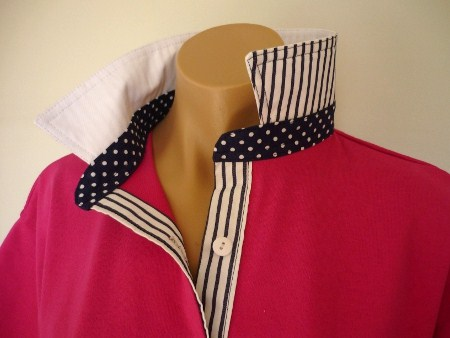 Hot Pink rugby - White collar navy spot and stripe