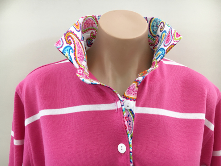 Thin pink & white stripe Rugby - SALE - Pink paisley trim **Limited Sizes
