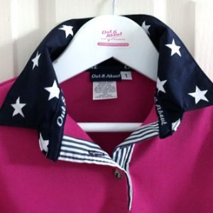 Hot pink Kids rugby – Navy star & stripe