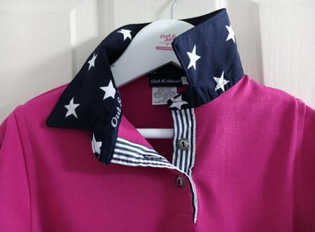 Hot pink Kids rugby – Navy star & stripe