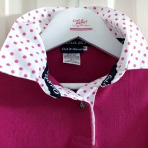 Hot pink kids rugby – white based pink spot trim
