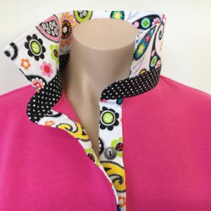 Hot pink rugby with modern paisley and black spot
