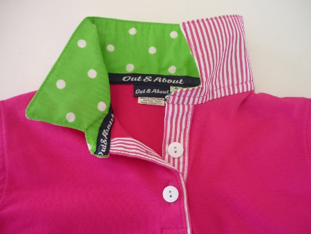 Girls Hot pink rugby - Lime spot and hot pink stripe trim