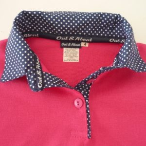 Hot pink kids rugby – Small navy spot trim