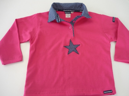Hot pink kids rugby - Small navy spot trim