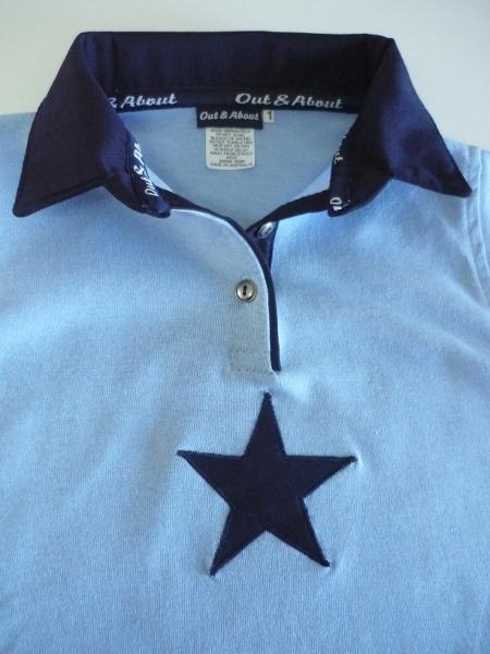 Kids light blue rugby - navy trim + star