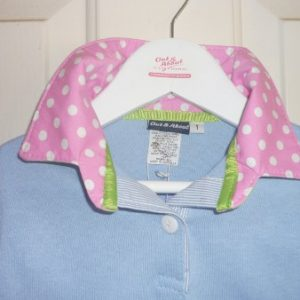 Girls light blue rugby - Light pink spot, pale lime spot & pale blue stripe