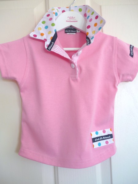 Kids Light pink rugby - White multi spot and light pink stripe