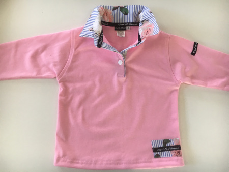Kids light pink rugby - Sky stripe/floral trim