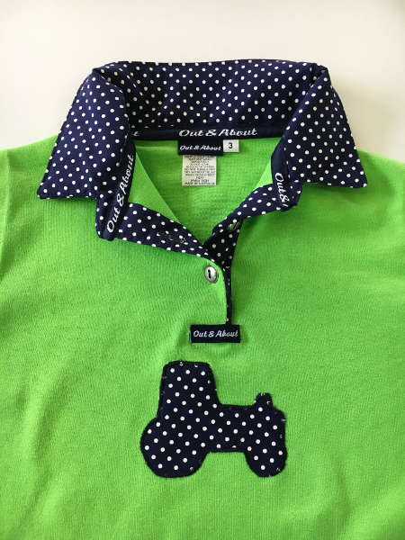 Lime kids rugby – navy spot + applique