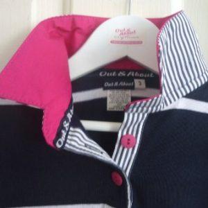 Girls Navy & white stripe rugby - Hot pink trim