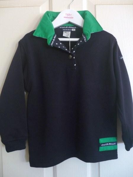 Kids navy rugby - Green collar with navy star & stripe trim