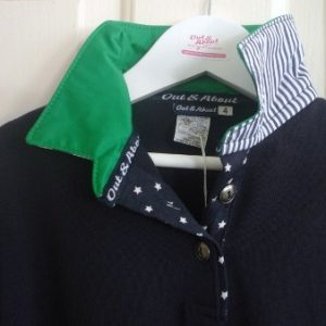 Kids navy rugby - Green collar with navy star & stripe trim