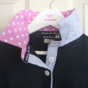 Navy Girls rugby - Light pink spot & Light blue pin stripe
