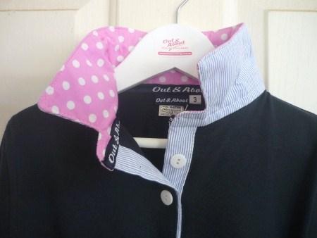 Navy Girls rugby - Light pink spot & Light blue pin stripe