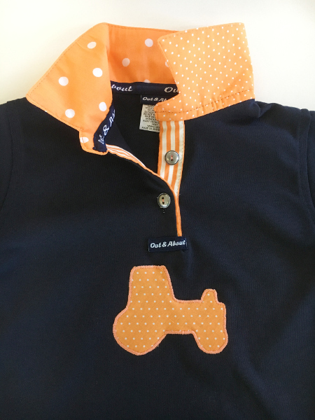 Kids Navy rugby - Orange trim + tractor