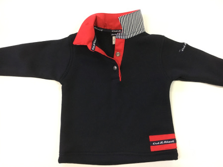 Boys navy rugby - red with navy stripe