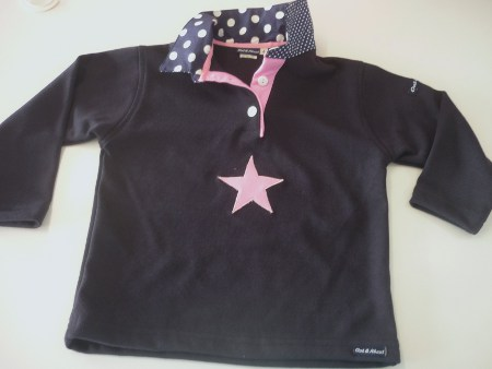 Girls navy rugby - Big navy spot and candy pink trim