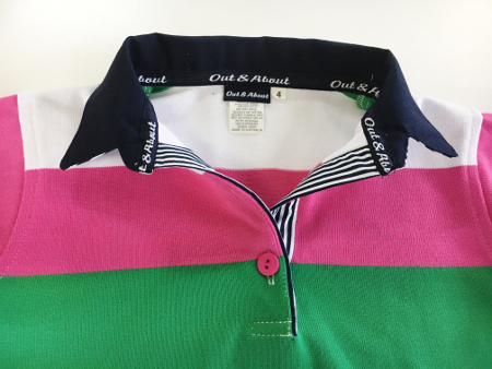 Kids Pink/green/white Stripe Rugby - Navy & navy stripe