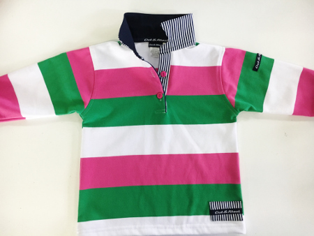 Kids Pink/green/white Stripe Rugby - Navy & navy stripe