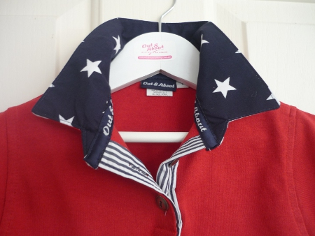 Kids Red Rugby - navy star & stripe & red stripe back collar