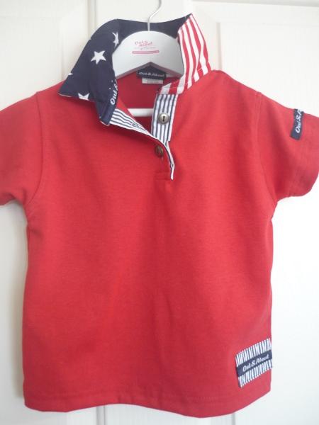 Kids Red Rugby - navy star & stripe & red stripe back collar