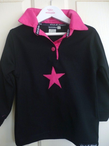 Kids navy rugby- hot pink collar and star