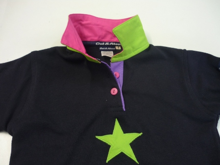 Girls navy rugby - multi coloured trim