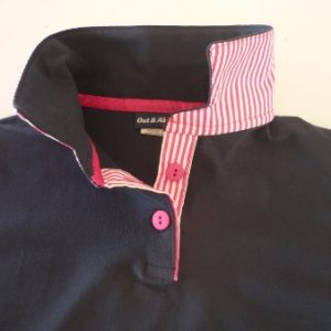 Navy Kids rugby - navy top collar, pink stripe and pink tape