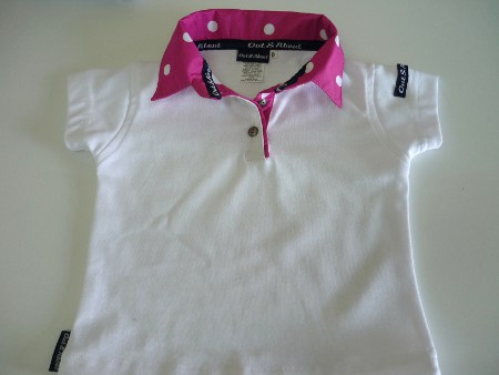 Kids white rugby - candy pink spot and tape trim