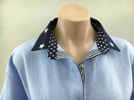 Light blue rugby - Big navy star, spot & stripe combo