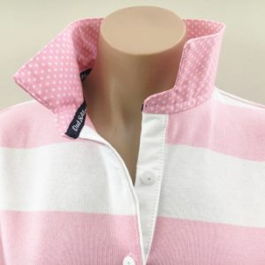 Light pink & white stripe rugby - Matching pink spot & tape