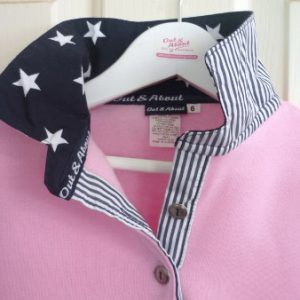 Kids light pink rugby - Navy star and stripe trim