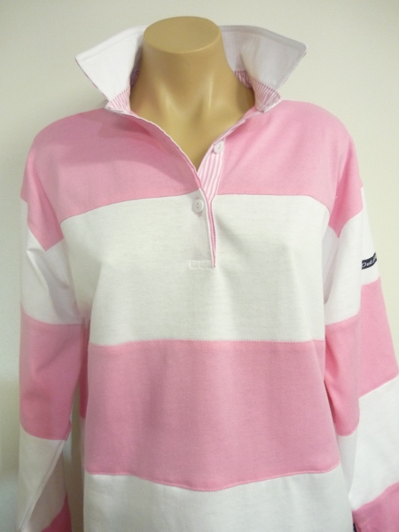 Light pink/White sewn stripe rugby