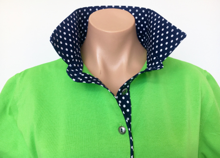 Lime rugby - Navy spotty trim
