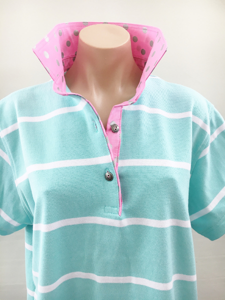 Mint Stripe Rugby - Pink & Silver Spot