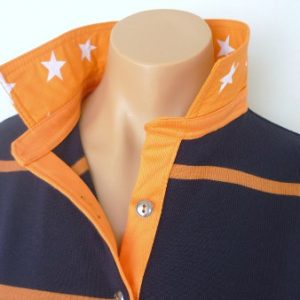 Navy & Pumpkin Stripe Rugby - Orange Stripe & Spot