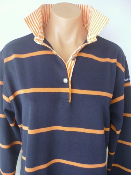 Navy & Pumpkin Stripe Rugby - Orange Stripe & Spot
