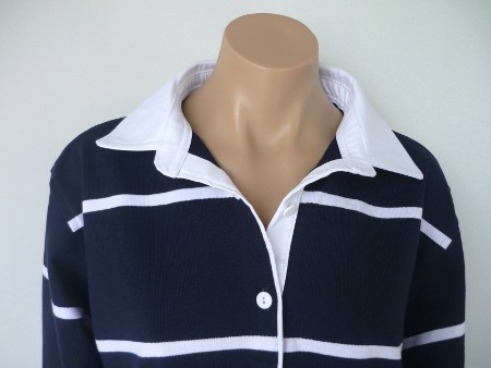 Navy and white stripe rugby with plain white trim