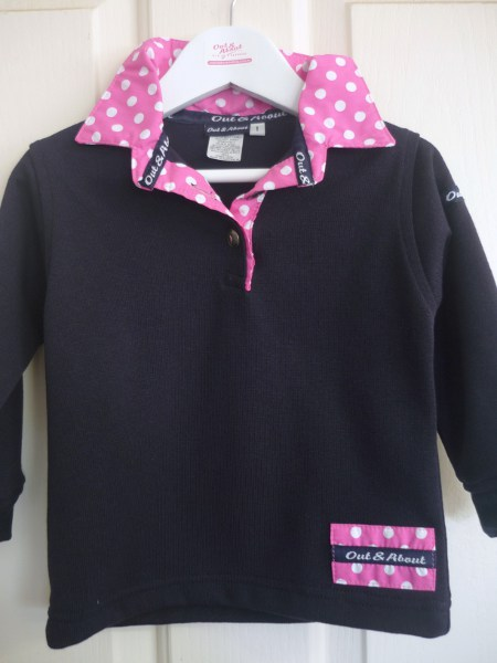 Navy kids rugby with candy spotty trim