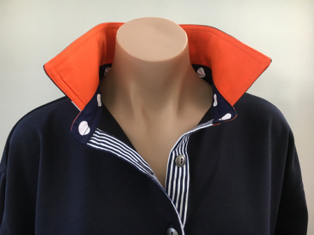 Navy Rugby - Burnt orange with navy spot & stripe