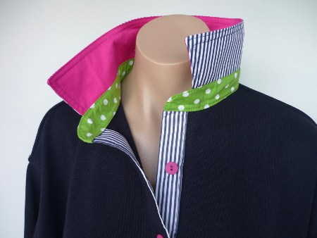Navy rugby - Hot pink, lime spot and navy stripe