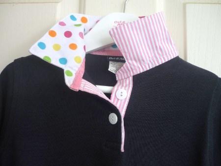 Girls navy rugby - White multi polka dot & light pink stripe