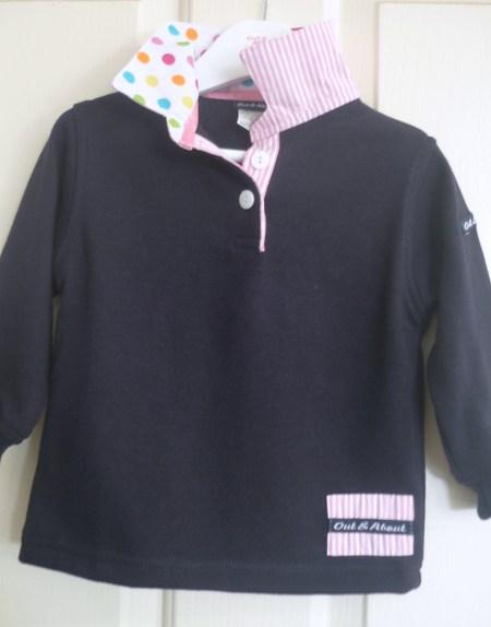Girls navy rugby - White multi polka dot & light pink stripe