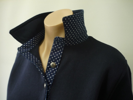 Navy rugby - self fabric collar and small navy spot