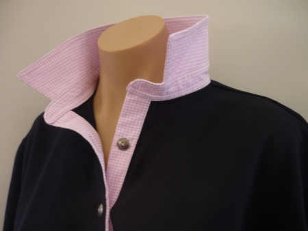 Navy rugby - light pink small check