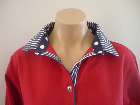 Red Rugby - Navy spot and stripe trim